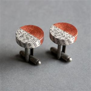 Handmade Recycled Paper Cufflinks Painted in Copper