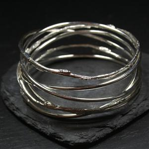 Thin Spiral and Cast Willow Bangle