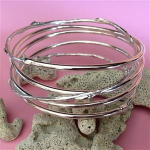 Silver Thin Spiral & Cast Willow Bangle