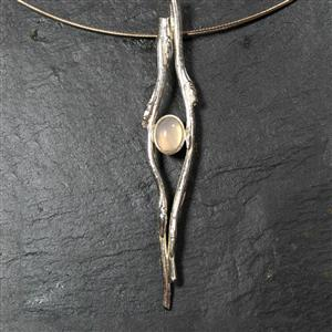 Cast Willow and Moonstone Cable Pendant