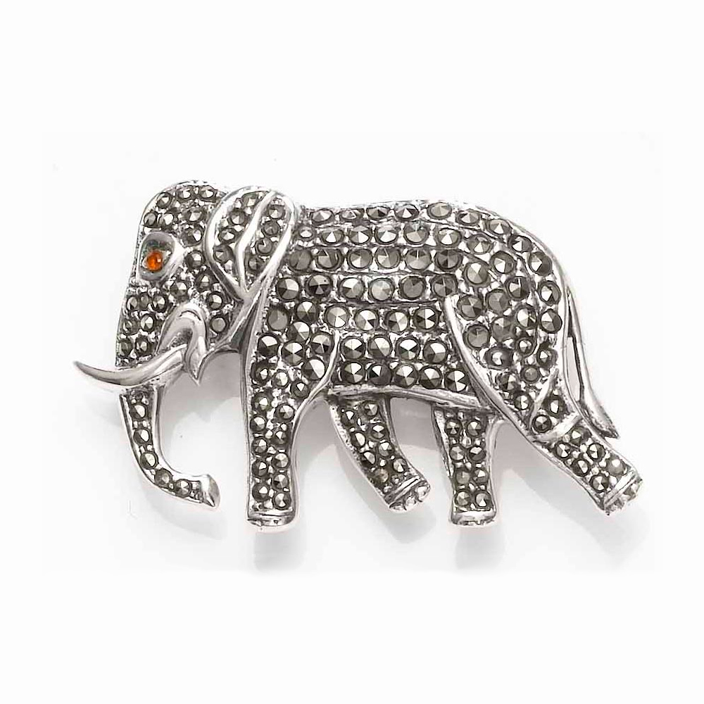 Elephant Brooch Set with Marcasite