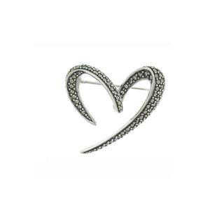 Romantic Open Heart Sterling Silver & Marcasite Brooch