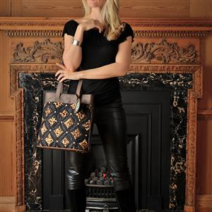 Black Leopard Silk Leather Tote