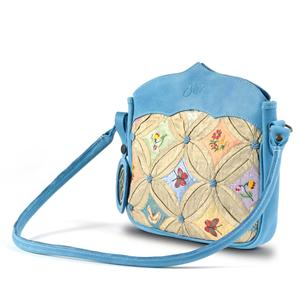 Shoulder Bag Silk & Leather Pale  Blue