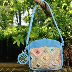 Shoulder Bag Silk & Leather Pale Blue | Gifts For Her | MyGiftGenir
