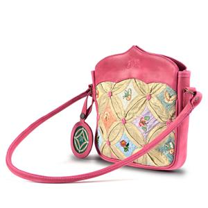 Silk with Pink Leather Shoulder  Bag