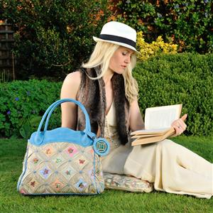 Blue Garden Leather Handbag | Gifts For Her | MyGiftGenie