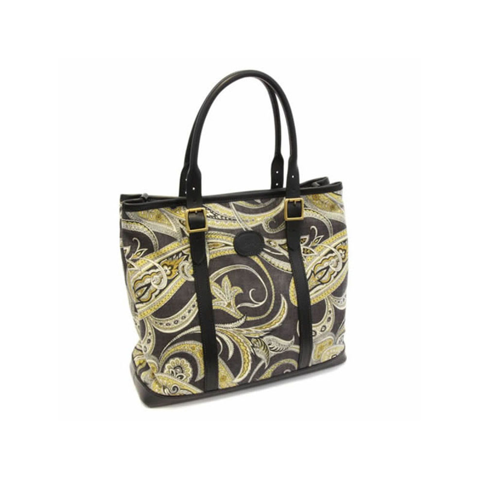 Black Paisley & Leather Tote Bag