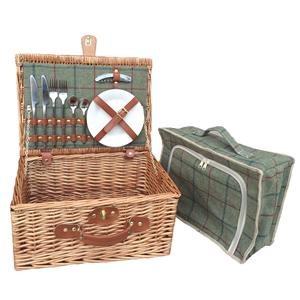 2 Person Green Tweed Hamper