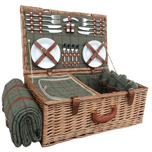 4 Person Green Tweed Hamper