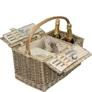 Antique Wash Lidded 2 Person Hamper