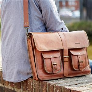 Personalised Large Brown Strap Style Leather Satchel | 3rd leather anniversary gift | MyGiftGenie