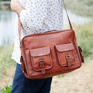 Personalised Large Brown Leather Overnight Bag | Gift Ideas | MyGiftGenie