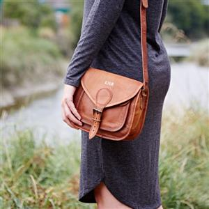 Personalised Curved Brown Leather Saddlebag | Gift Ideas | MyGiftGenie