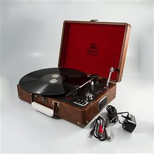 Vintage Brown Leather Attache Case Record Player