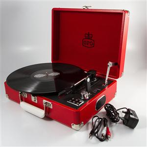 Pillarbox Red Leather Attache Case Record Player