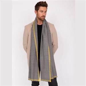 Merino Handwoven Men's Oversize Scarf with Inca Yellow | Luxury Gifts | MyGiftGenie