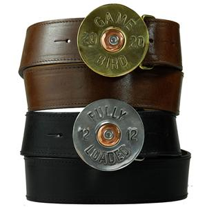 Pewter Game Bird Buckle on Black Leather Belt
