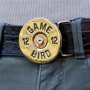 Pewter Game Bird Buckle Leather Belt