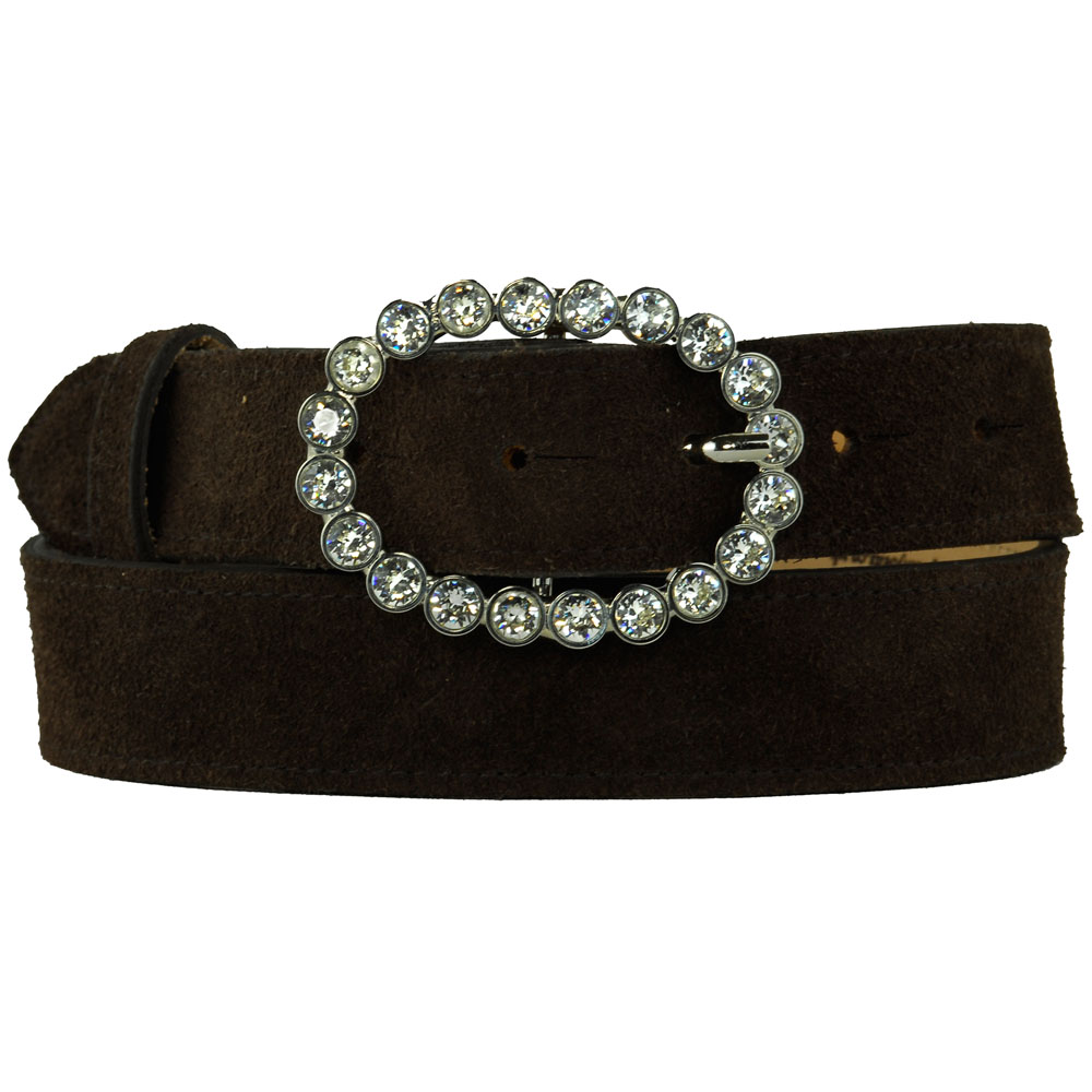 White Oval Diamante Buckle on Black Suede Belt