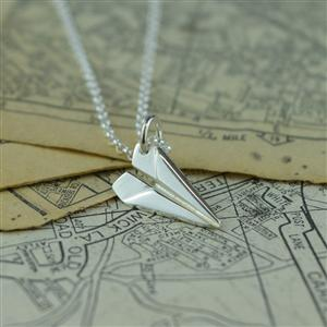 Silver Paper Plane Necklace with 'Anniversary' Message