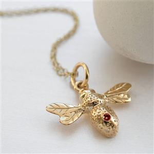 9 Carat Gold Ruby Bee Necklace
