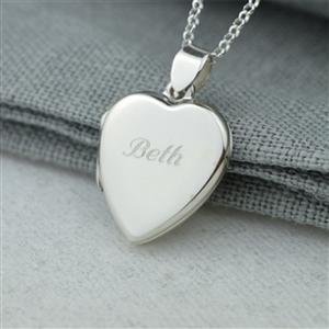 Engraved Silver Heart Locket (Large)