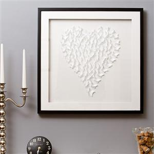 Champagne White Framed 3D Butterfly Heart Artwork - Medium (42 x 42cm)