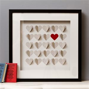 Framed 3D Box Of Hearts Artwork 42cm x 42cm