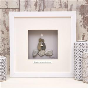 Personalised Wedding Pebble Artwork 40cm x 40cm