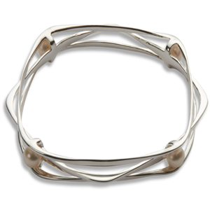 Andromeda Silver & Pearl Bangle