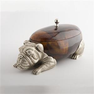 Large Bulldog - Silver plated brown