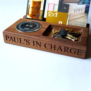 Personalised Walnut Wireless Smartphone Charger Tray