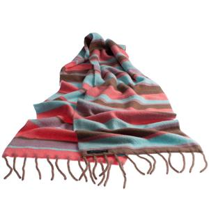 100% Cashmere Double Layer Stripey Scarf (Eat Cake)