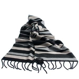 100% Cashmere Double Layer Stripey Scarf (Grey scale)