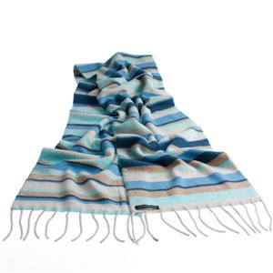 100% Cashmere Double Layer Stripey Scarf (Nautical)