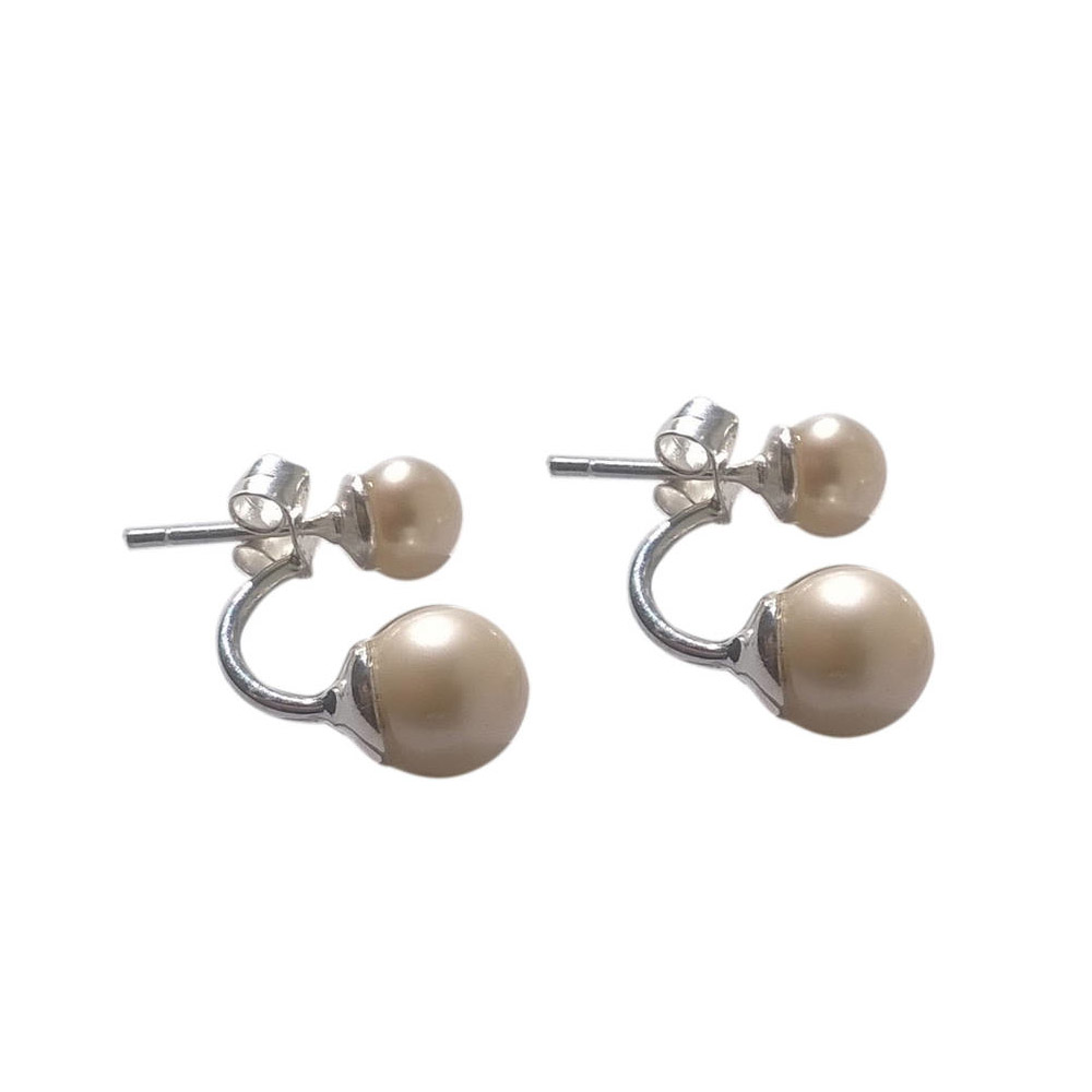 Duo Pearl Solid Silver Earrings