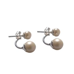 Duo Pearl Solid Silver Designer Earrings