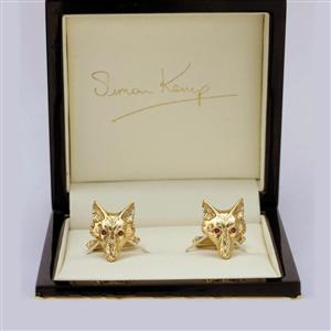 Fox Head Cufflinks In Solid Gold and Ruby