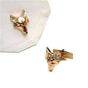 Gold Plated Fox Head Cufflinks With Rubies