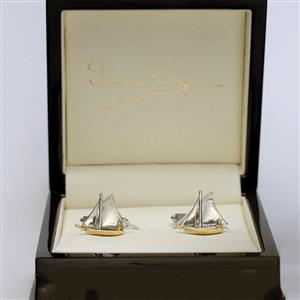 Sailboat Cufflinks Solid White Gold