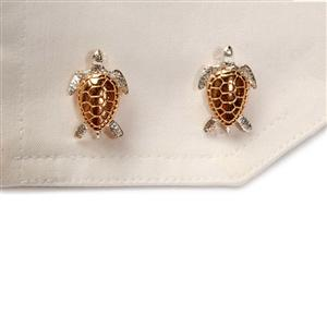 Turtle Cufflinks, 18 Ct Gold On Sterling Silver