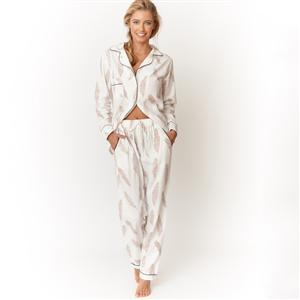 100% Cotton Feather Print Pyjama Shirt & Trousers | MyGiftGenie