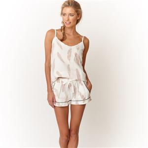 100% Cotton Feather Print Cami Top & Shorts | MyGiftGenie