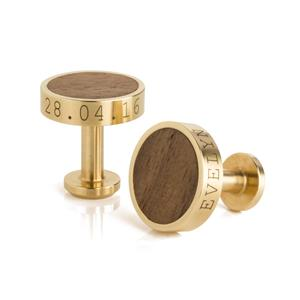 Personalised Brass and Walnut Cufflinks