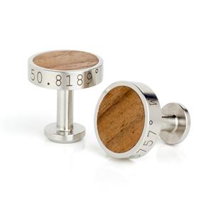 Personalised Stainless Steel and Walnut Cufflinks | MyGiftGenie