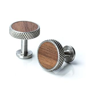 Stainless Steel Diamond Knurl and Walnut Cufflinks