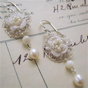 Fiorenza Vintage Lace and Silver Earrings