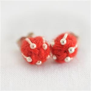Earing Alpaca Fibre and Silver Red