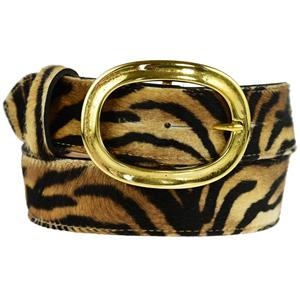 Brass Oval Buckle on Tiger Belt